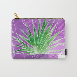 Ode to Mezcal - Espadin Agave Plant with Mezcal Bottles Watercolor Collage Carry-All Pouch