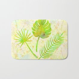 Tropical Leaf Watercolor Painting, Green Palm Tree Leaves Bath Mat