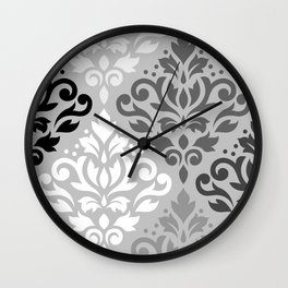 Scroll Damask Ptn Art BW & Grays Wall Clock