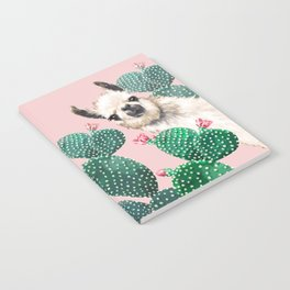 Llama and Cactus Pink Notebook