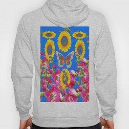 ASSORTED FLOWERS MODERN BLUE ART Hoody