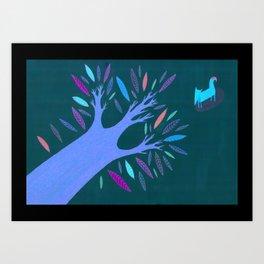 Fox and The Tree  Art Print