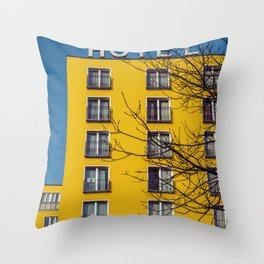Hotel and yellow Throw Pillow