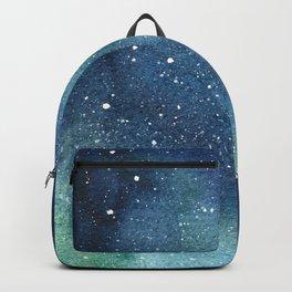 Galaxy Watercolor Space Night Sky Nebula Painting Aurora Backpack