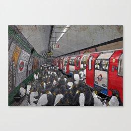 Penguins on the London Underground Canvas Print