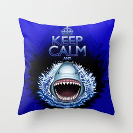 Keep Calm and...Shark Jaws Attack! Throw Pillow