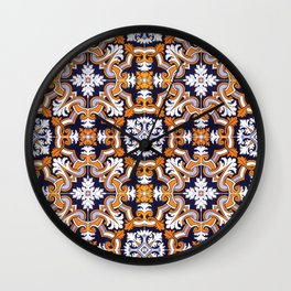 Portuguese Tiles Azulejos Blue Orange Pattern Wall Clock
