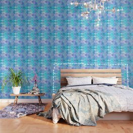 Aqua Pearlescent & Gold Mermaid Scale Pattern Wallpaper