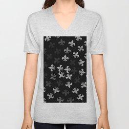 Black and White Fleur-Di-Lis Unisex V-Neck