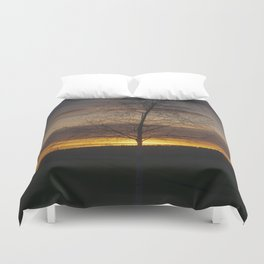 Sunset at the end of town Duvet Cover