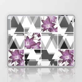 Pink lilies on grey triangles . Laptop & iPad Skin