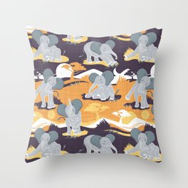 Baby African elephants joy night and day // yellow mustard Throw Pillow