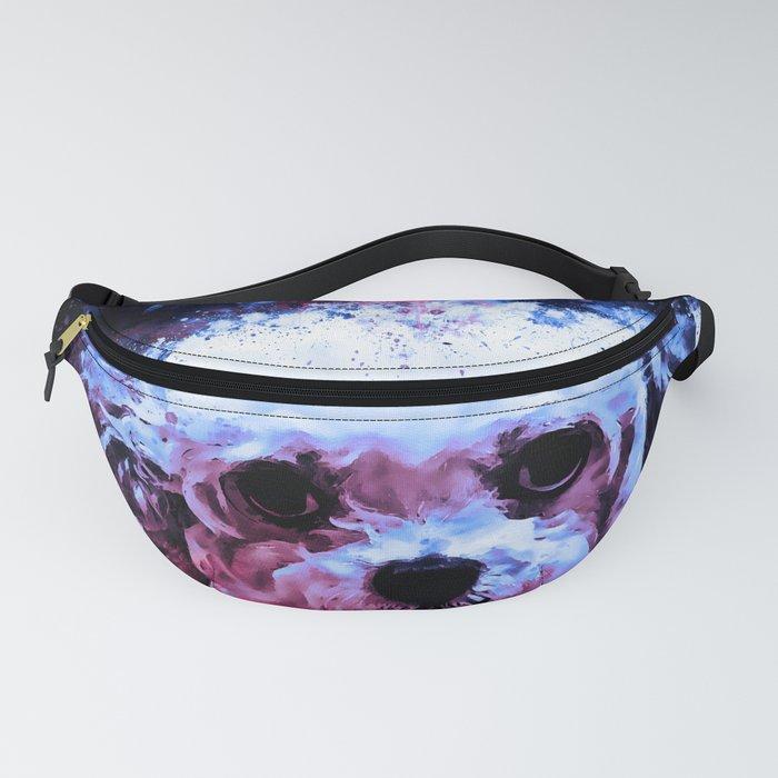 bolonka zwetna russian dog watercolor splatters cool blue Fanny Pack