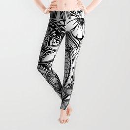 Hawaiian Polynesian Trbal Tatoo Print Leggings