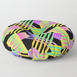 Neon Ombre 90's Striped Shapes Floor Pillow