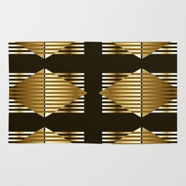 Gold Black Geometric Design Rug