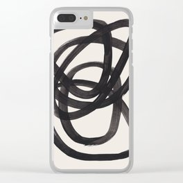 Mid Century Modern Minimalist Abstract Art Brush Strokes Black & White Ink Art Spiral Circles Clear iPhone Case
