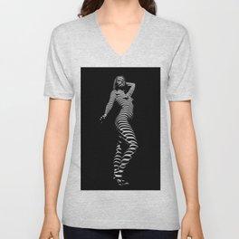 3666-MM BW Zebra Stripe Art Nude Woman Standing Tall Unisex V-Neck