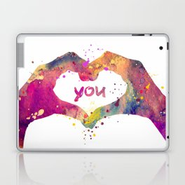 Heart Watercolor Art Print Love Hands Valentine's Day Laptop & iPad Skin