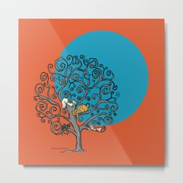 Cats under the blue moon Metal Print