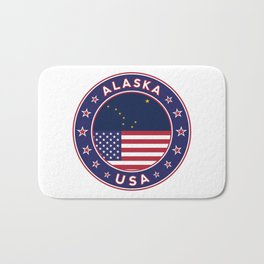 Alaska, Alaska t-shirt, Alaska sticker, circle, Alaska flag, white bg Bath Mat