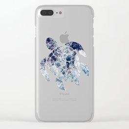 Sea Turtle - Blue Ocean Waves Clear iPhone Case