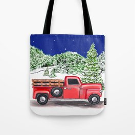 Old Red Farm Truck Winter Tote Bag