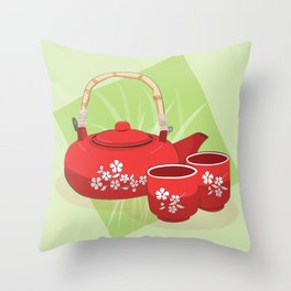 Red Tea Set Throw Pillow