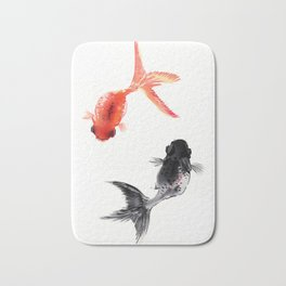 Two KOI , Feng Shui, Fish art, Bath Mat