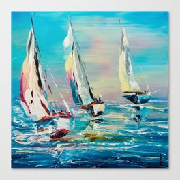 YACHTS ON THE WIND Canvas Print