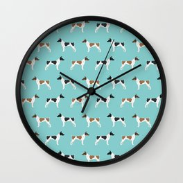 Rat Terrier dog breed pet portrait dog pattern dog breeds gifts for dog lovers Wall Clock