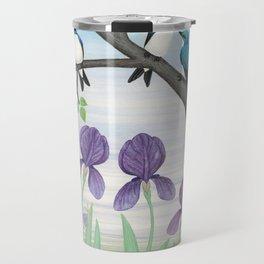 tree swallows & irises Travel Mug