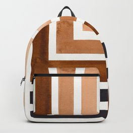 Raw Umber Mid Century Modern Watercolor Colorful Ancient Aztec Art Pattern Minimalist Geometric Patt Backpack