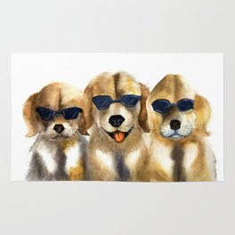 Yellow dogs  in funny glasses Rug