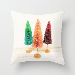 Vintage Bottlebrush Pastel Trees Throw Pillow