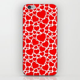 Red Hearts Pattern iPhone Skin