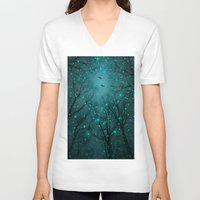 ursula V-neck T-shirts featuring One by One, the Infinite Stars Blossomed by soaring anchor designs