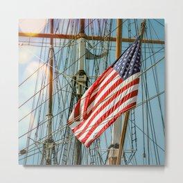 Sailing Ship Flag Metal Print