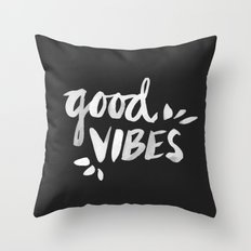 Good Vibes – White Ink Throw Pillow