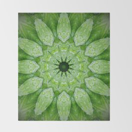 Green Mandala Plant Throw Blanket