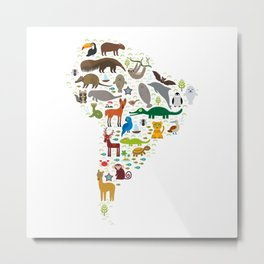 South America sloth anteater toucan lama bat fur seal armadillo boa manatee monkey dolphin Metal Print