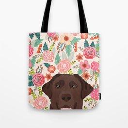 Chocolate Lab florals dog breed portrait pet art dog lover gifts labrador retriever Tote Bag