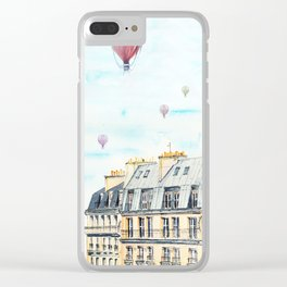 Architecture Paris and air balloon watercolor Clear iPhone Case