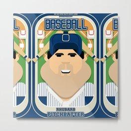Baseball Blue Pinstripes - Rhubarb Pitchbatter - Victor version Metal Print