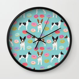 Rat Terrier donuts dog breed pet portrait dog pattern dog breeds gifts for dog lovers Wall Clock