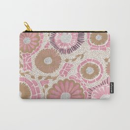 Pink & Gold Flowers Carry-All Pouch