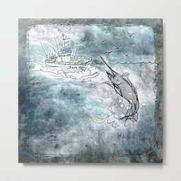 Fishing swordfish Metal Print