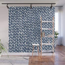 Hand Knit Zoom Navy Wall Mural