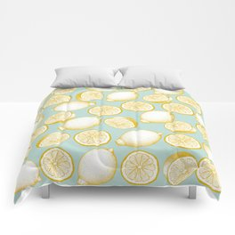 Lemons On Turquoise Background Comforters
