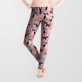 Boston Terrier floral black and white coat essential gifts for boston terriers owners florals Leggings